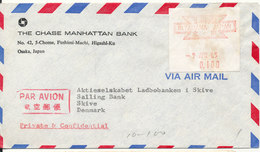 Japan Air Mail Bank Cover With Franking Label Sent To Denmark 9-4-1965 - Airmail
