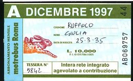 SP79 METREBUS ROMA ABBONAMENTO MENSILE AGEVOLATO A CONTRIBUZIONE DICEMBRE1997 - Season Ticket