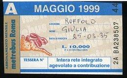 SP80 METREBUS ROMA ABBONAMENTO MENSILE AGEVOLATO A CONTRIBUZIONE MAGGIO 1999 - Europa