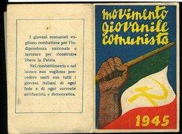 SP82 RARA TESSERA MOVIMENTO GIOVANILE COMUNISTA 1945 - Documenti Storici