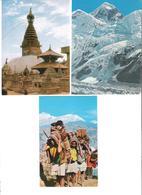 Nepal - 3 Cards - Mount Everest - Mount Nhuptse - Swoyambhu Biggest Stupa -  - Nice Stamp Timbre - Nepal
