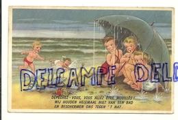 """Humour Plage. Enfants à La Plage. Pluie Et Parapluie """"Dépêchez Vous, Vous Allez être Mouillés"""". 1957. Coloprint 700/4 - Contemporain (à Partir De 1950)"""