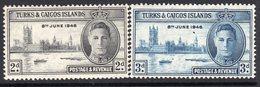 Turks & Caicos Islands GVI 1946 Victory Set Of 2, MNH, SG 206/7 (A) - Turks And Caicos