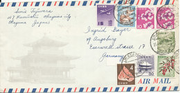 Japan Air Mail Cover Sent To Germany With More Stamps Okayama 21-4-1985 - Airmail