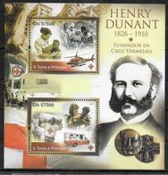 SAINT THOMAS ET PRINCE  Feuillet N° 3808/09 * *    ( Cote 18e ) Dunant Sauvetage Ambulances Helicoptere Croix Rouge - Henry Dunant