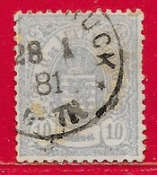 Luxembourg N°30 10c Gris (28 1 81) 1874-80 O - 1859-1880 Coat Of Arms