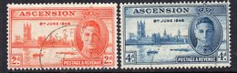 Ascension Island GVI 1946 Victory Set Of 2, Used, SG 48/9 (A) - Ascension