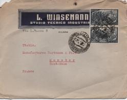 ITALIE      LETTRE  AVEC PUBLICITE POUR  L WINSEMANN  STUDIO TECNICO INDUSTRIA  MILANO - 1946-.. République