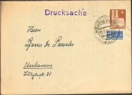 Bizone 4 Pfg.Bauten Und Notopfer Auf Drucksache V.1949 A.Mühlheim Ruhr - Bizone