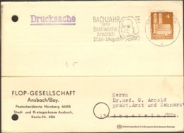 Bizone 4 Pfg.Bauten V.1950 Auf Drucksache A.Ansbach M.Werbestempel Bachjahr,Bachwoche Ansbach - Zone Anglo-Américaine