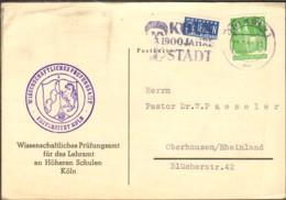 Bizone 10 Pfg.Bauten U.Notopfer  V.1950 A. Karte A.Köln M.Werbestempel 1900 Jahre Stadt, Abs. Universität - Zone Anglo-Américaine