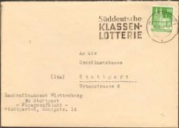 Bizone 10 Pfg.Bauten V.1948 A. Ortsbrief A.Stuttgart M.Serienstempel Süddeutsche Klassenlotterie - Bizone