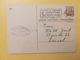 1946 INTERO CARTOLINA POSTCARDS SVIZZERA ANNULLO MONTREUX HELVETIA SUISSE POSTKARTE CARTE POSTALE ETICHETTA - Interi Postali