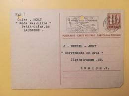 1946 INTERO CARTOLINA POSTCARDS SVIZZERA ANNULLO LAUSANNE HELVETIA SUISSE POSTKARTE CARTE POSTALE ETICHETTA - Interi Postali