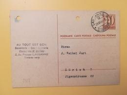 1946 INTERO CARTOLINA POSTCARDS SVIZZERA ANNULLO LAUSANNE HELVETIA SUISSE POSTKARTE CARTE POSTALE - Interi Postali
