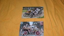 LOT 2 CARTES POSTALES ANCIENNES CIRCULEES DE 1906.../ BEBES SUR VOITURE...VEHICULE ANCIEN..CACHETS + TIMBRE - Babies