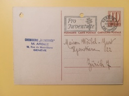 1946 INTERO CARTOLINA POSTCARDS SVIZZERA ANNULLO GENEVE HELVETIA SUISSE POSTKARTE CARTE POSTALE ETICHETTA - Interi Postali