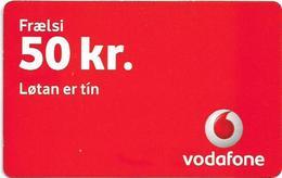 Faroe - Vodafone - Frælsi Vodafone, 50Kr. GSM Refill, Used - Faroe Islands