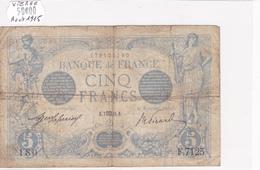 Billet De 5 Francs Bleu Du 07/08/1915 VIERGE - F.7125 Alph 180 @ N° Fayette : 2.30 - 1871-1952 Circulated During XXth