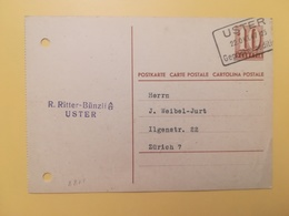 1947 INTERO CARTOLINA POSTCARDS SVIZZERA ANNULLO USTER HELVETIA SUISSE POSTKARTE CARTE POSTALE - Interi Postali