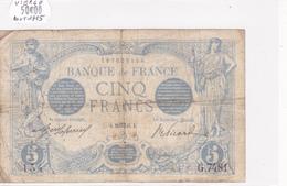 Billet De 5 Francs Bleu Du 28/08/1915 VIERGE - G.7481 Alph 154 @ N° Fayette : 2.30 - 1871-1952 Circulated During XXth