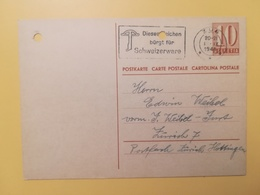 1948 INTERO CARTOLINA POSTCARDS SVIZZERA ANNULLOZUG HELVETIA SUISSE POSTKARTE CARTE POSTALE ETICHETTA - Interi Postali