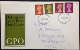 """Great Britain, Circulated FDC, """"British Monarchy"""", """"Queen Elisabeth II"""", Leicester, 1968 - 1952-.... (Elizabeth II)"""