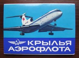"""AEROFLOT WINGS''. AIRPLANES OF THE SOVIET UNION. Set Of 16 Postcards In Folder. USSR, 1989 - 1946-....: Modern Era"