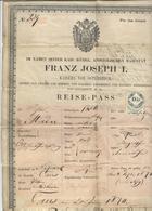 1870 , Cpl. Reise-Pass Österreich -Kaiser Franz Joseph , Taus  -für Das Inland ! - Historische Dokumente