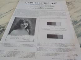 ANCIENNE PUBLICITE PARFUM JEUNESSE IDEALE LENTHERIC   1913 - Profumi & Bellezza