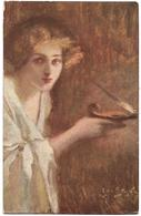 PEINTRE JAN STYKA - LYGIE - LYGIA - Янъ СтьІка Пигія - FEMME AVEC UNE LAMPE A HUILE - Peintures & Tableaux