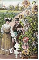 BEBES MULTIPLES - Pots De Fleurs Avec Des Visages - Femme Avec Ombrelle - Homme Avec Arrosoir - Chien - Bébés
