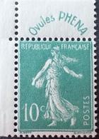 """R1189/632 - 1926/1927 - TYPE SEMEUSE CAMEE - N°188 NEUF** CdF Avec Publicité """" OVULES PHENA """" - Publicités"""