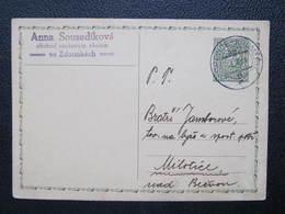 GANZSACHE Bahnpost Zugstempel Zborovice - Kromeriz Zdounky Milotice 1933 //// D*42075 - Tschechoslowakei/CSSR