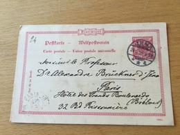 SCHW665 Deutsches Reich Ganzsache Stationery Entier Postal P 25/01 Von Jena Nach Paris - Postwaardestukken