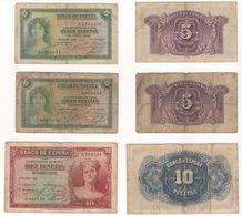 SPAGNA LOTTO 3 BANCONOTE 1935 - [ 2] 1931-1936 : Repubblica