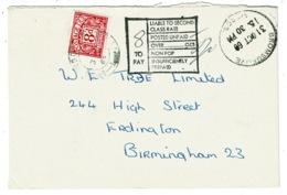 Ref 1333 - 1969 Postage Due Cover - Bromsgrove To Erdington Birmingham - 8d To Pay - 1952-.... (Elizabeth II)
