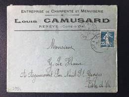 Lettre Marque Cachet Convoyeur Station Ambulant Gray à  Is Sur Tille Timbre Type Semeuse Haute-Saône Côte D'Or - Poststempel (Briefe)