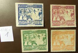 Werbemarke Cinderella Poster Stamp Eishockey  Meisterschaft München 1913  #1775-1 - Vignetten (Erinnophilie)