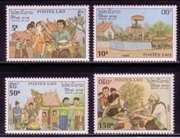LAOS 1236-1239 POSTFRISCH(MINT) LAOTISCHE NEUJAHRSBRÄUCHE ELEFANT - Laos