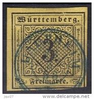 Allemagne Wurtemberg N° 2 Oblitération Laupheim 1853 Cachet Bleu - Wuerttemberg