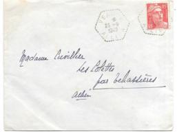 LETTRE.. DE  VEAUCE..N° 813  TYPE II...SEUL SUR LETTRE.. CACHET AGENCE POSTALE RURALES . DE VEAUCE...1949... - 1921-1960: Période Moderne