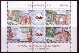 SPANIEN BLOCK 21 POSTFRISCH(MINT) ESPAMER '80 BRIEFMARKENAUSSTELLUNG MADRID MIT EINTRITTSKARTE - Blocs & Feuillets