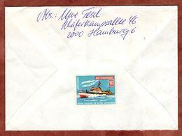 Brief, Vignette Quittungsmarke Seenotkreuzer, Europa Mund, Automatenmarke, Hamburg Nach Stuttgart 1987 (90603) - Vignetten (Erinnophilie)