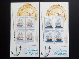 SPANIEN BLOCK 62-63 POSTFRISCH ALTE SEGELSCHIFFE (II) - Blocs & Feuillets
