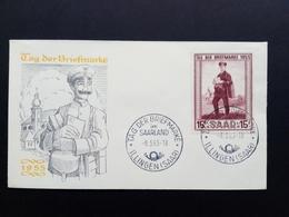 SAARGEBIET MI-NR. 361 FDC TAG DER BRIEFMARKE 1955 LANDBRIEFTRÄGER KIRCHE - 1947-56 Allierte Besetzung