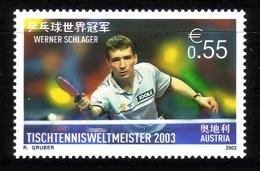 ÖSTERREICH MI-NR. 2446 POSTFRISCH(MINT) TISCHTENNIS WM 2003 PARIS SIEGER WERNER SCHLAGER - Tischtennis