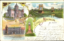 Lithographie Mülheim An Der Ruhr, Kreisgebäude, Rathaus, Kriegerdenkmal, Kettenbrücke, Denkmal - Autres