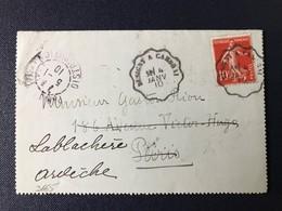 Lettre Marque Cachet Distribution Convoyeur Station Ambulant Busigny à Cambrai Timbre Type Semeuse Nord - Marcophilie (Lettres)