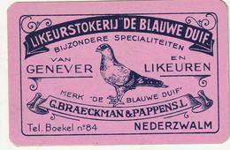 1 SPEELKAARTLIKEUR NEDERZWALM DE BLAUWE DUIF TEL. BOEKEL 84 ROZE - Playing Cards